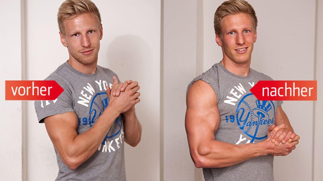 Sport-Trainee Nico Reiher (28) hat seinen Bizeps auf XL-Format gebracht