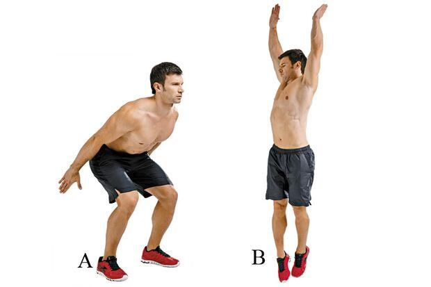 Strecksprünge mit 180-Grad-Rotation kräftigen Beine, Gesäß und Rumpf