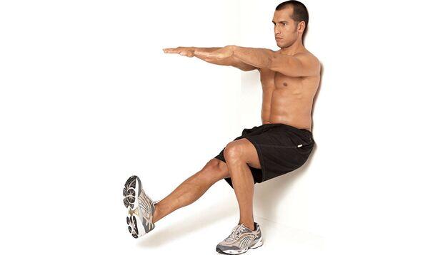 Stufe 3: Einbeinige Kniebeugen an der Wand