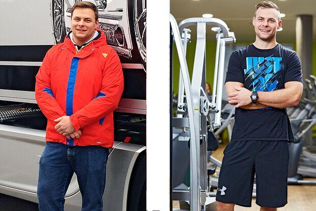 Sven hat erfolgreich abgenommen. Vorher wog er 121 Kilo und nachher 93 Kilo