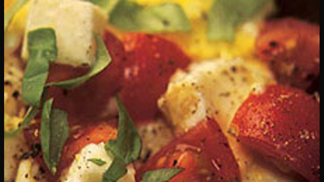 Tomaten-Rührei mit Mozzarella