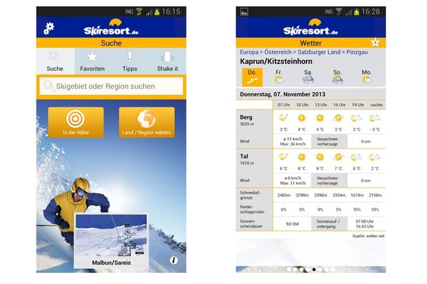 Top-Apps für die Piste: Skiresorts