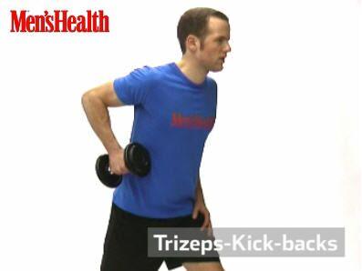 Trizeps-Kick-backs:<br /> Weite Schrittstellung, linke Hand auf den linken Oberschenkel stützen, Gewicht mit gebeugtem Arm in der rechten Hand halten, der Oberarm ist etwa in der Waagerechten.<br /> Arm nach hinten strecken, wieder beugen.
