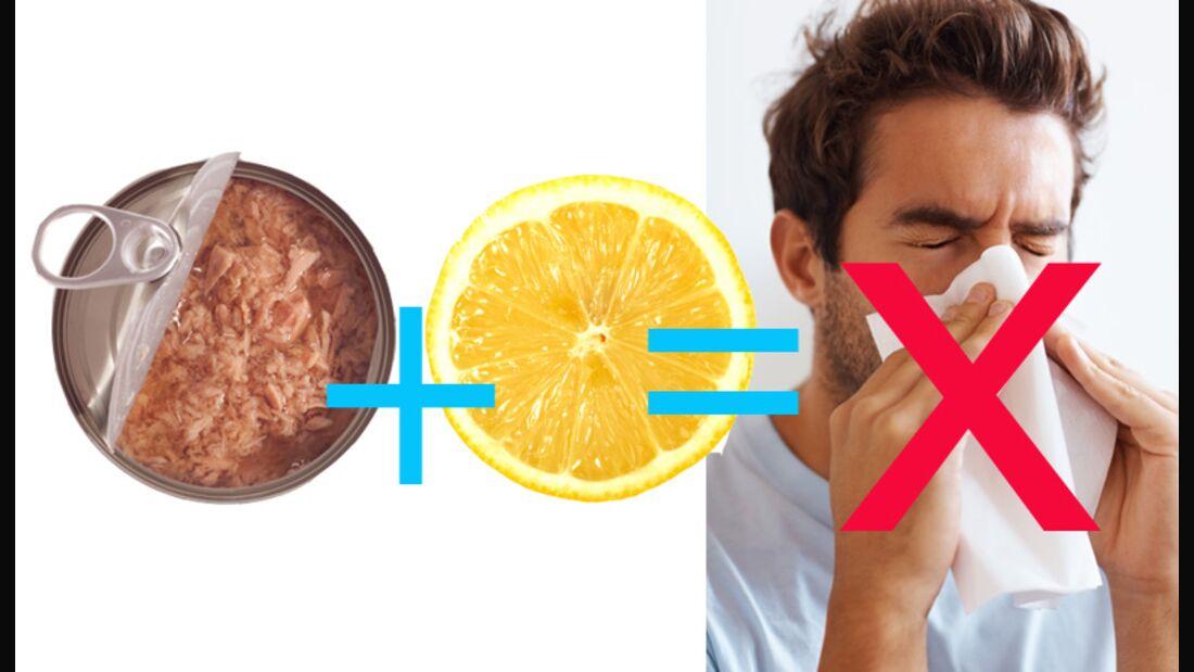 Tunfisch und Zitrone in Kombination beugen Erkältungen optimal vor