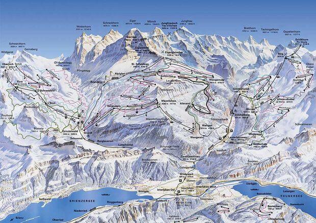 Übersichtskarte über das Skigebiet bei Eiger, Mönch & Jungfrau