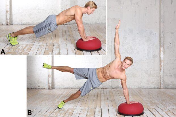 Übung 6: Seitstütz mit Arm- und Beinstrecken