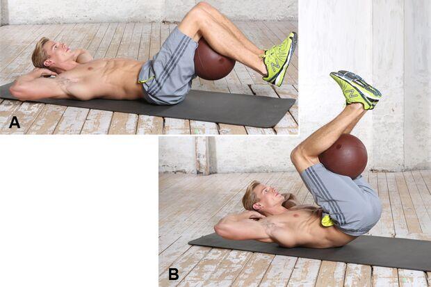 Übung 8: Umgekehrte Crunches mit Medizinball