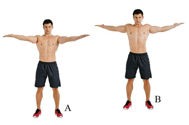 Umgekehrte Flys mit gedrehten Armen fordern den oberen Rücken und die Schultern