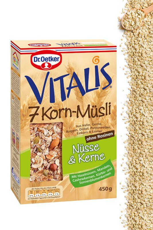 """Vitalis 7-Korn-Müsli """"Nüsse & Kerne"""" von Dr. Oetker"""