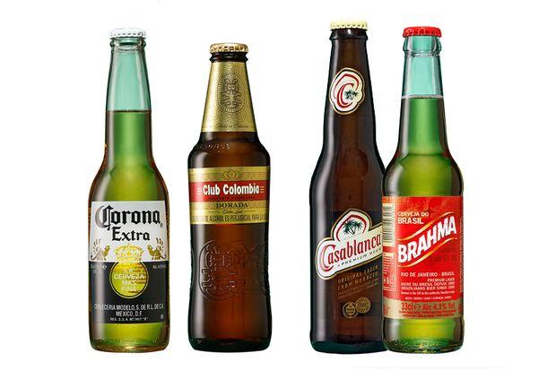 Von links: Beliebte Biere aus Mexiko, Kolumbien, Marokko und Brasilien