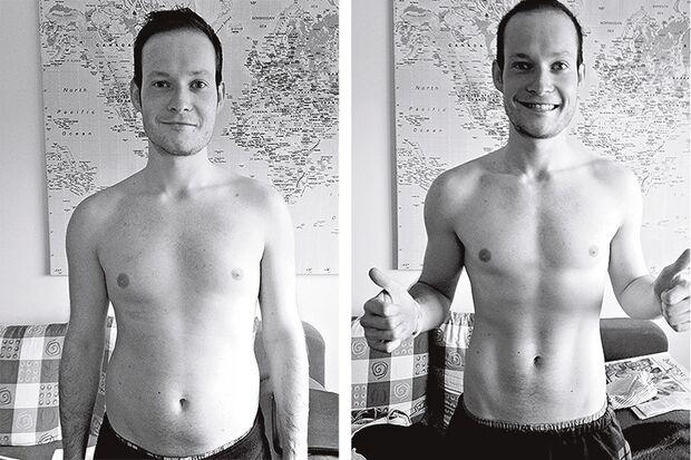 Vorher-Nachher-Bilder nach 100 Tage Bodyweight-Training