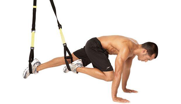 Wechselseitiges Beinanziehen mit Schlingensystem