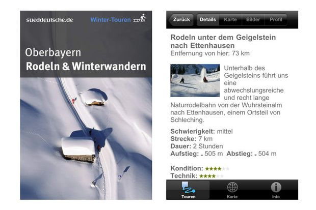 "Winter-Touren-App ""Rodeln & Winterwandern in Oberbayern"""
